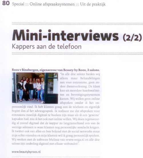 Interview Beauty by Roos Top Hair Benelux