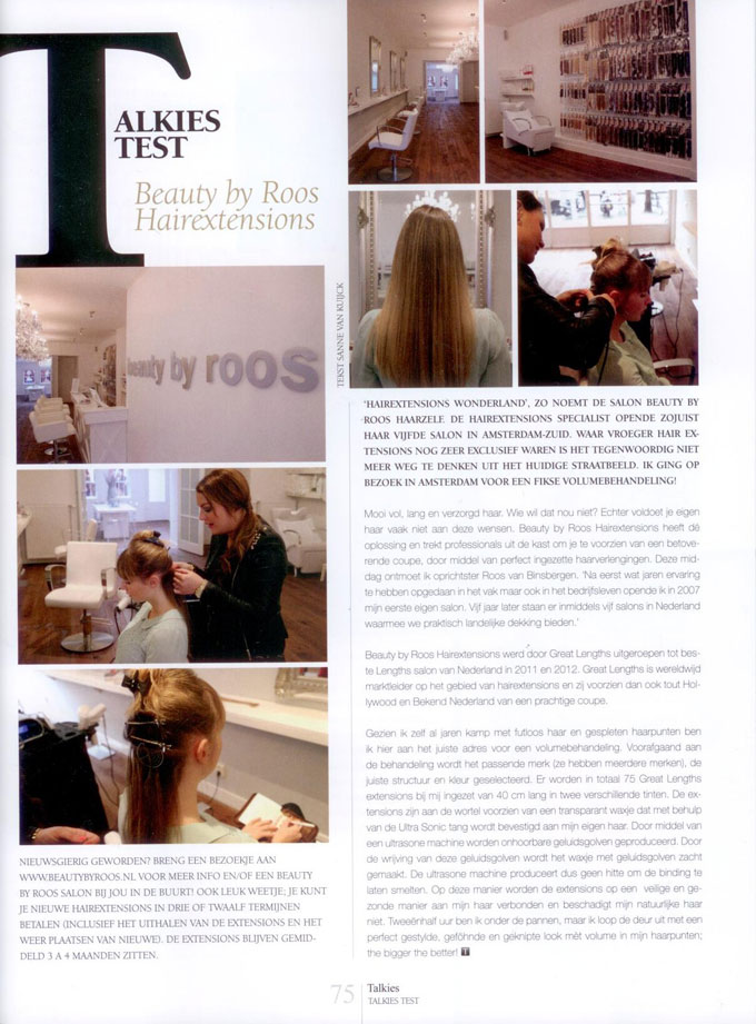 Talkies Magazine schrijft over Beauty by Roos Hairextensions