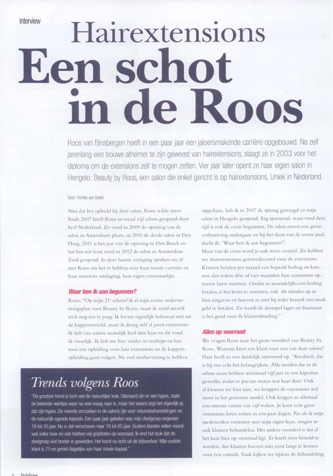Beauty by Roos Hairextensions in stylevision artikel