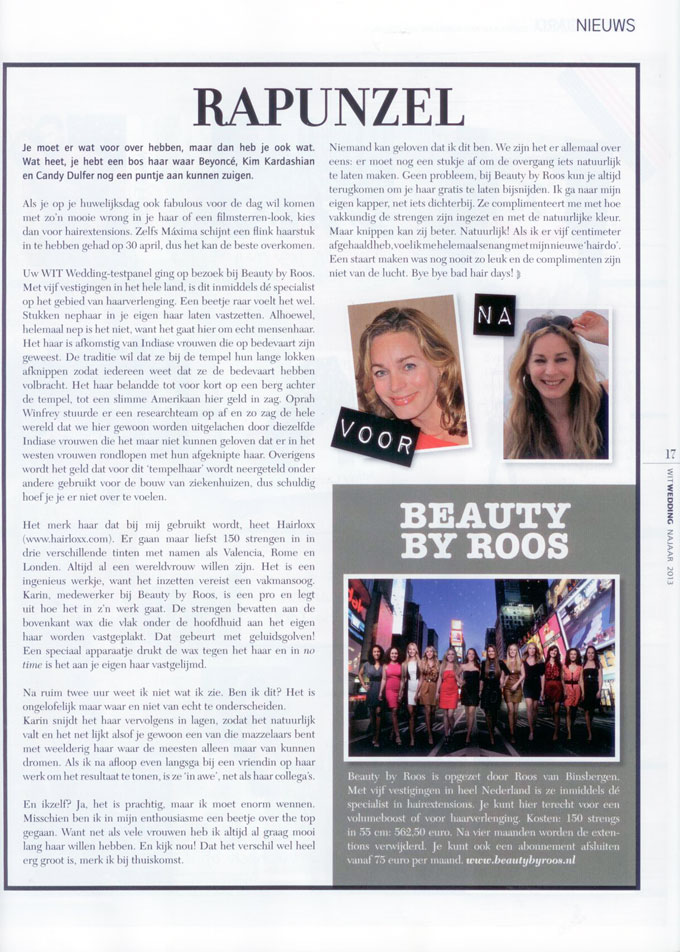 Artikel Beauty by Roos Hairextensions in Wit Wedding Magazine