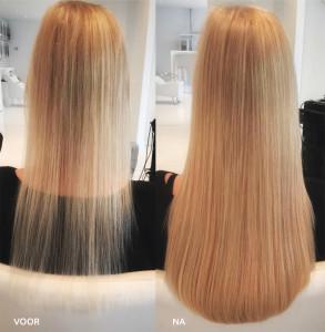 voor en na foto van hairextensions