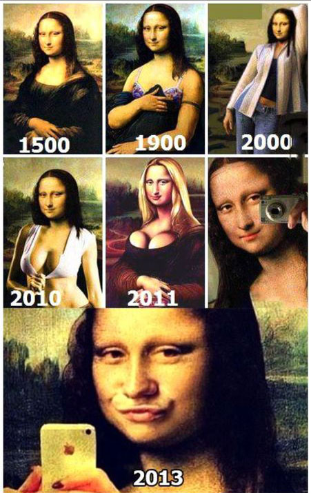 Mona Lisa selfie duckface