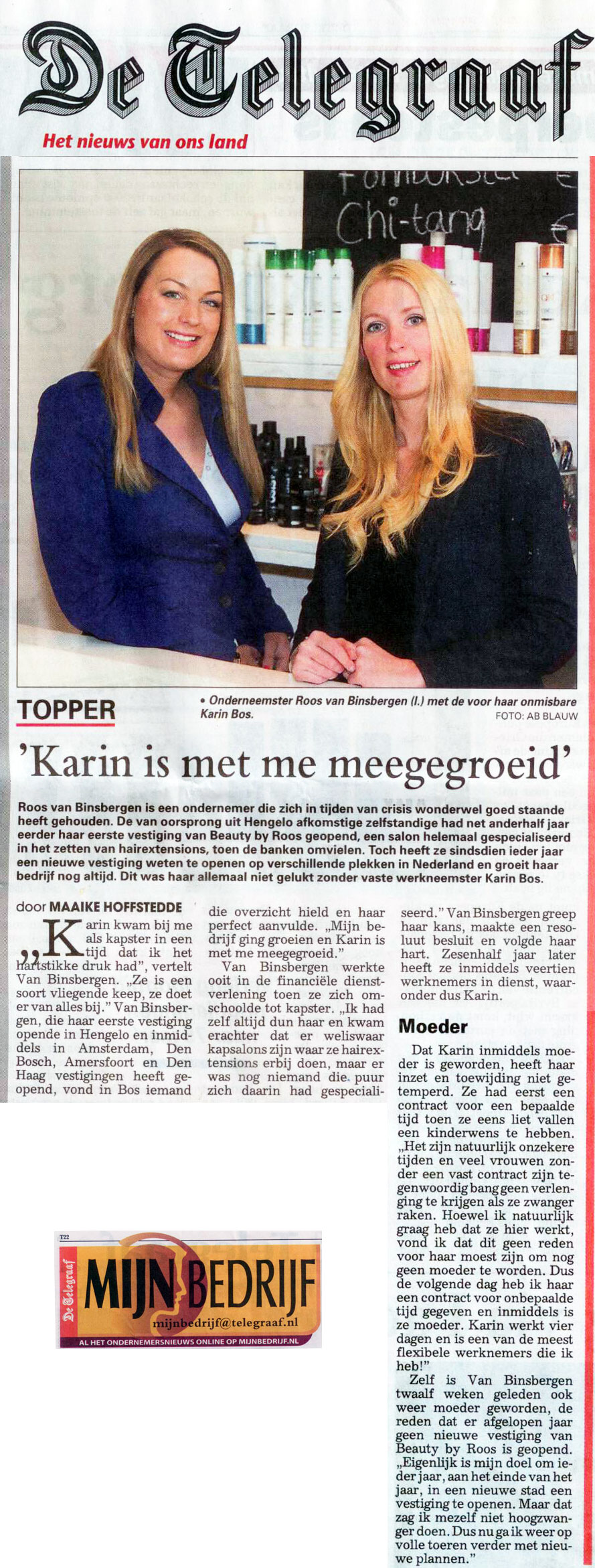 beauty by roos in de Telegraaf