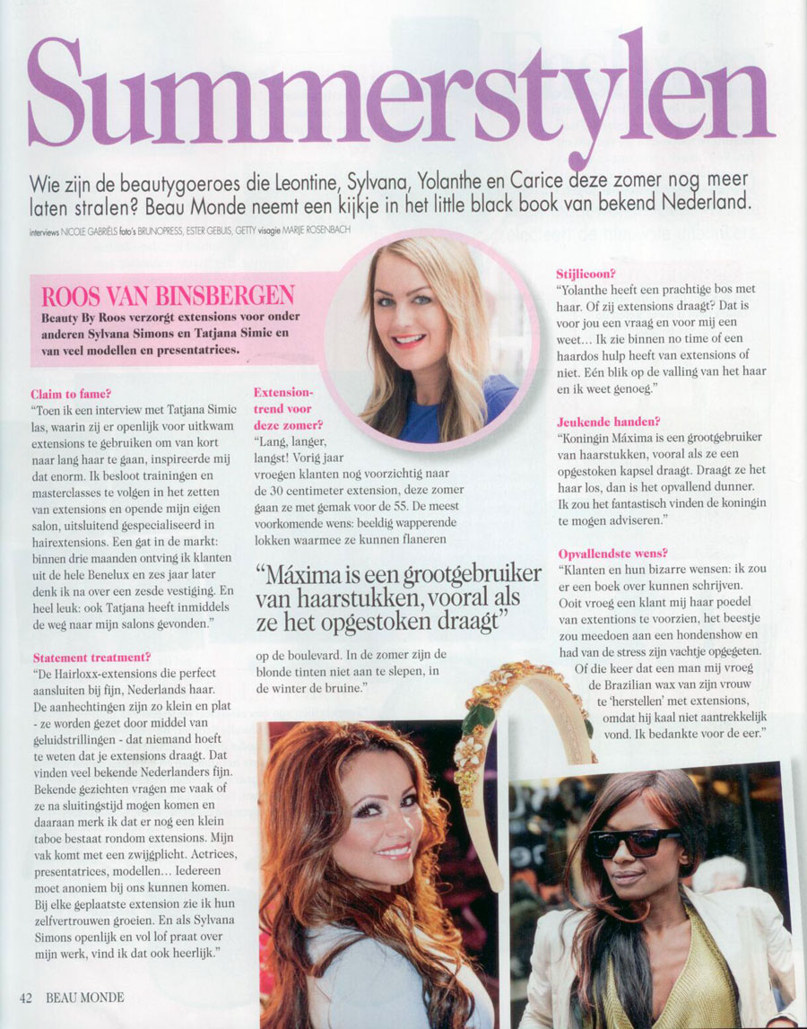 Summerstylen - Beau Monde artikel over hairextensions