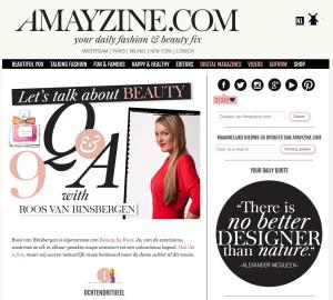 Amayzine.com let's talk about beauty met Roos van Binsbergen