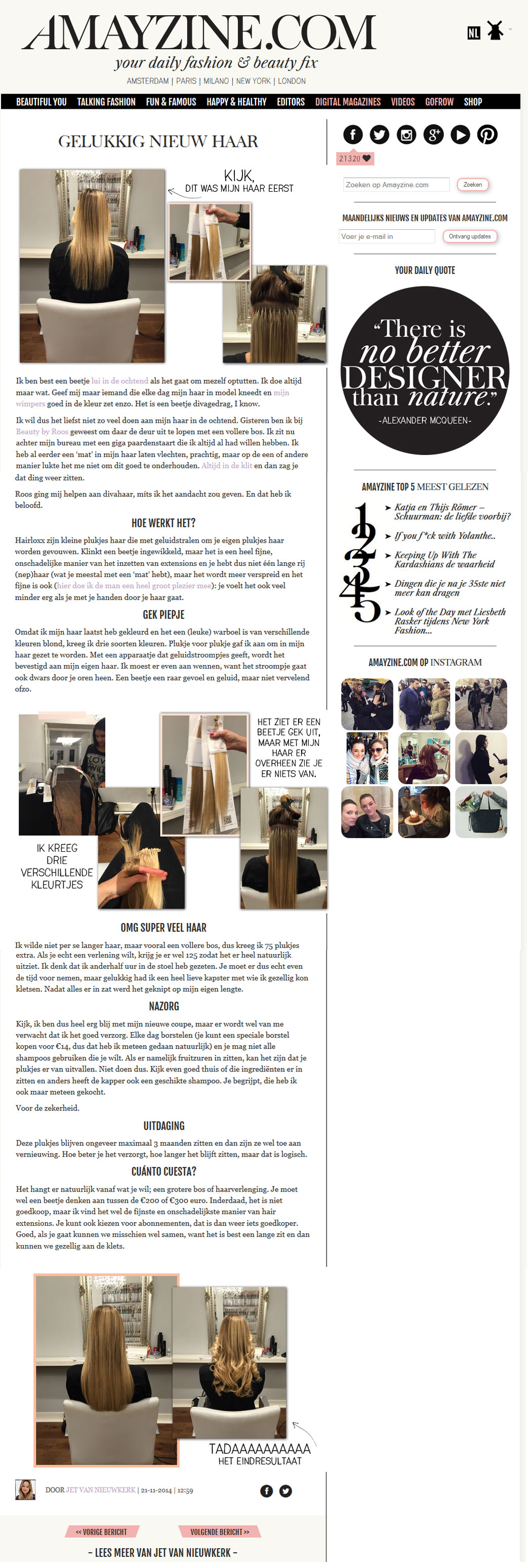 Amayzine over hairextensions van Beauty by Roos