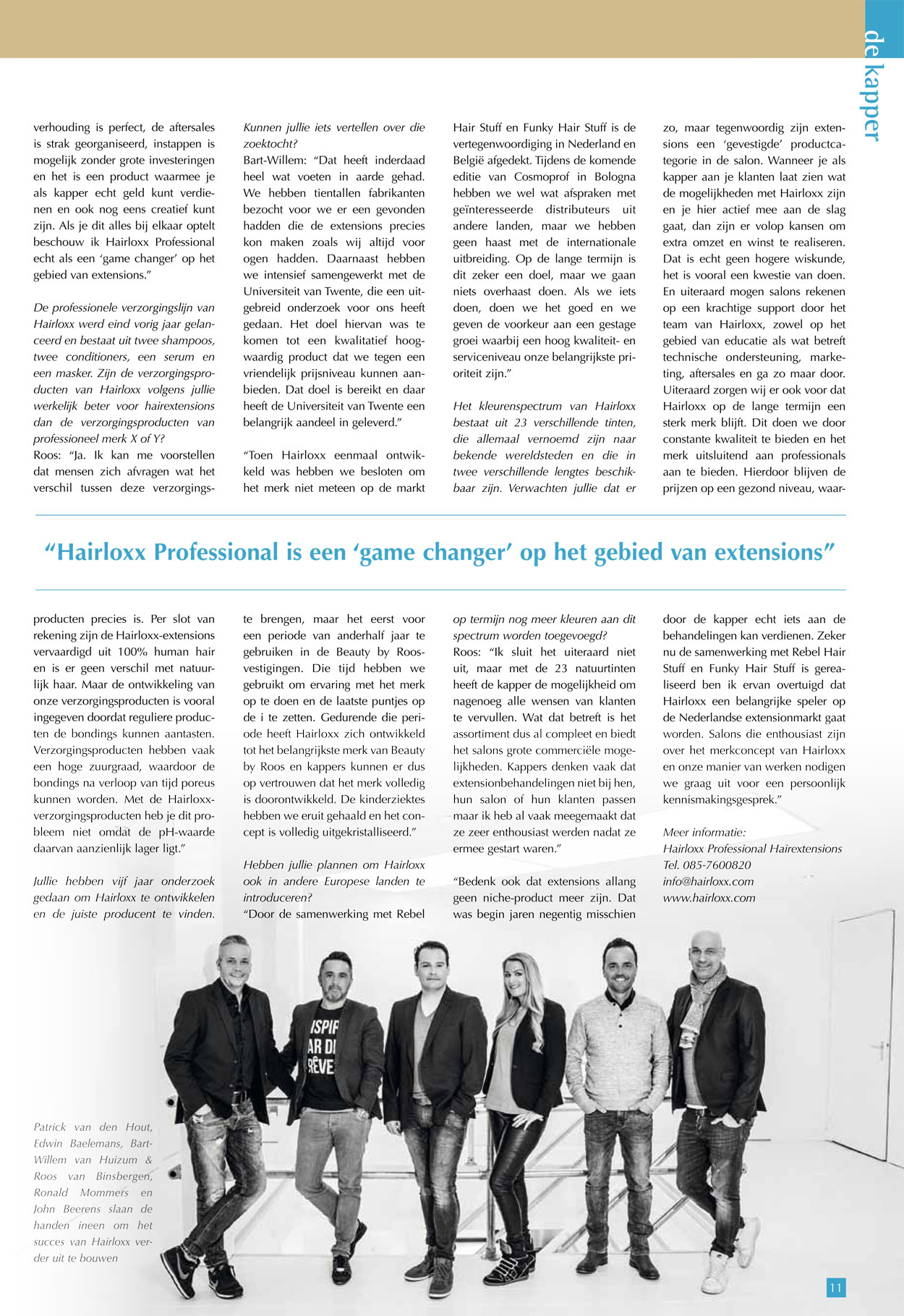 Hairloxx professional in vakblad De Kapper