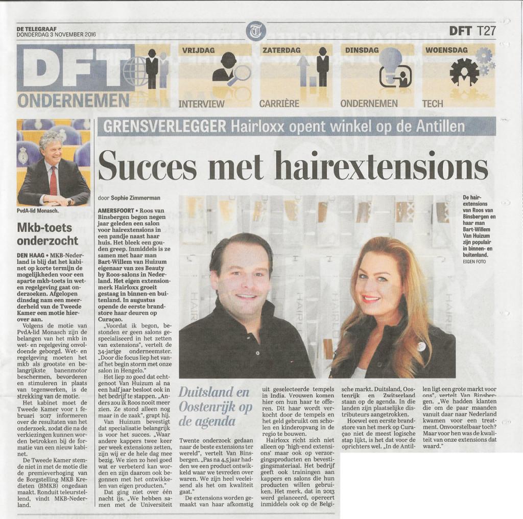 De Telegraaf Beauty by Roos en Hairloxx interview