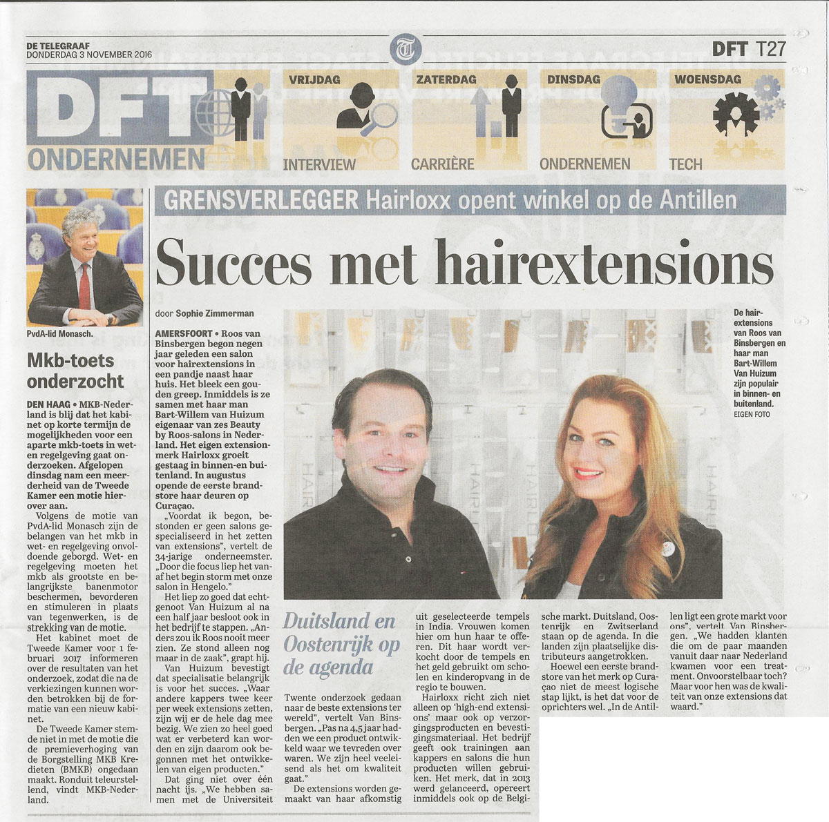 De Telegraaf Beauty by Roos en Hairloxx interview